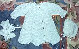 BABY SWEATER SET ~ White w Tapered Sleeves